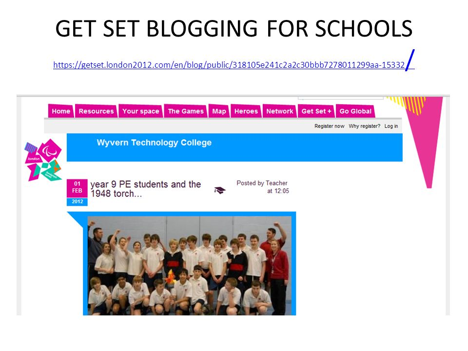 GET SET BLOGGING FOR SCHOOLS https://getset. london2012