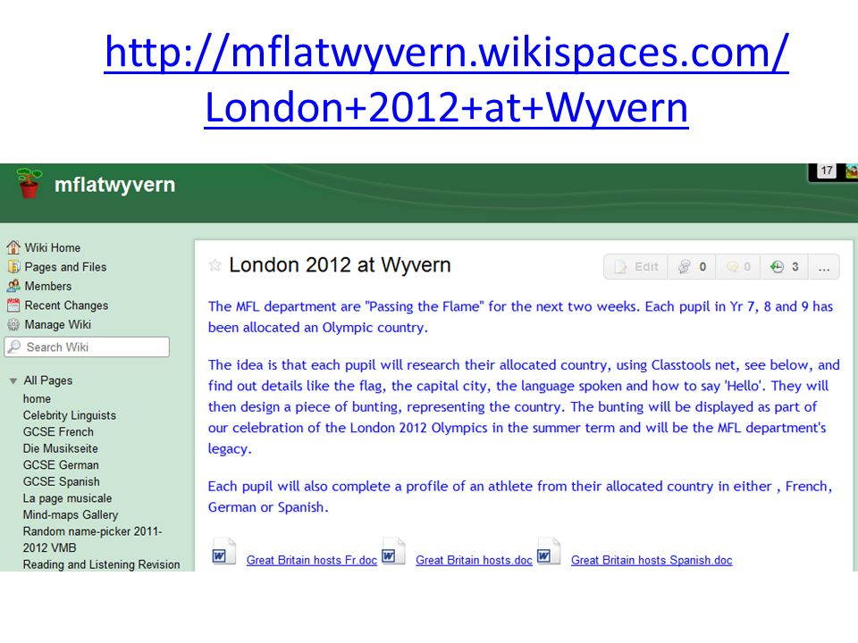 http://mflatwyvern.wikispaces.com/London+2012+at+Wyvern