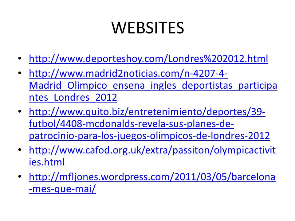 WEBSITES http://www.deporteshoy.com/Londres%202012.html