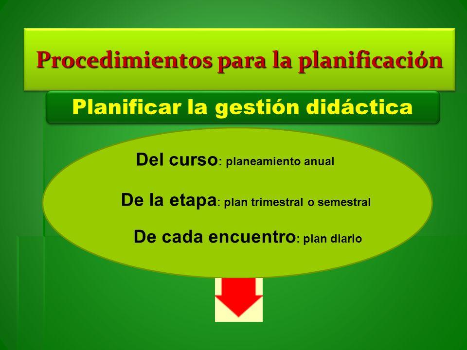 Procedimientos para la planificación