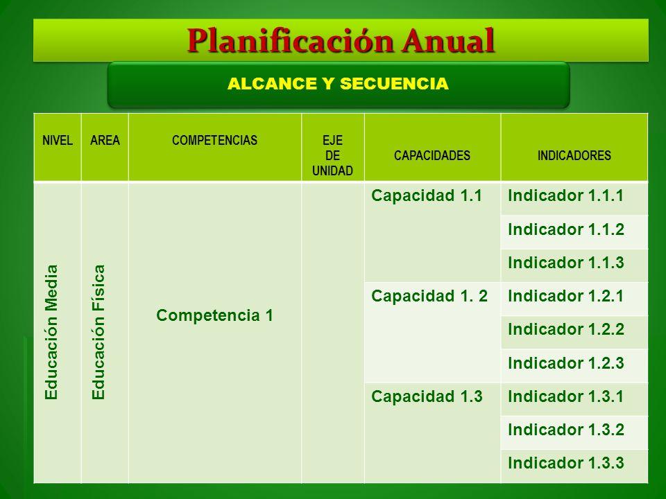 Planificación Anual ALCANCE Y SECUENCIA Educación Media