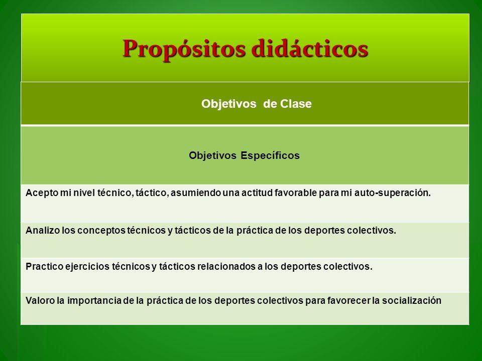 Propósitos didácticos Objetivos Específicos
