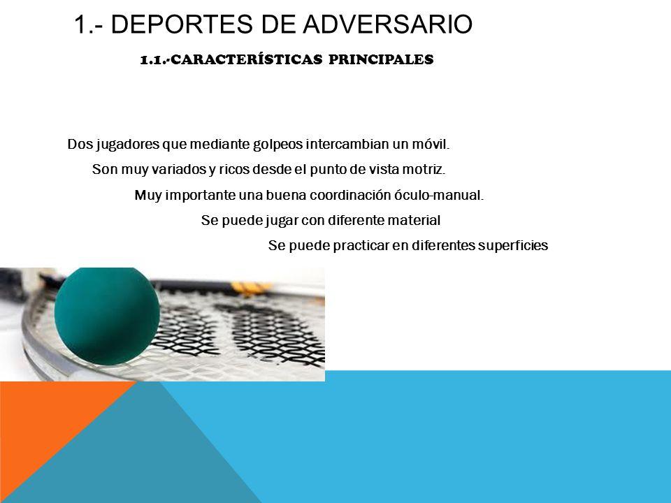 1.- DEPORTES DE ADVERSARIO 1.1.-características principales