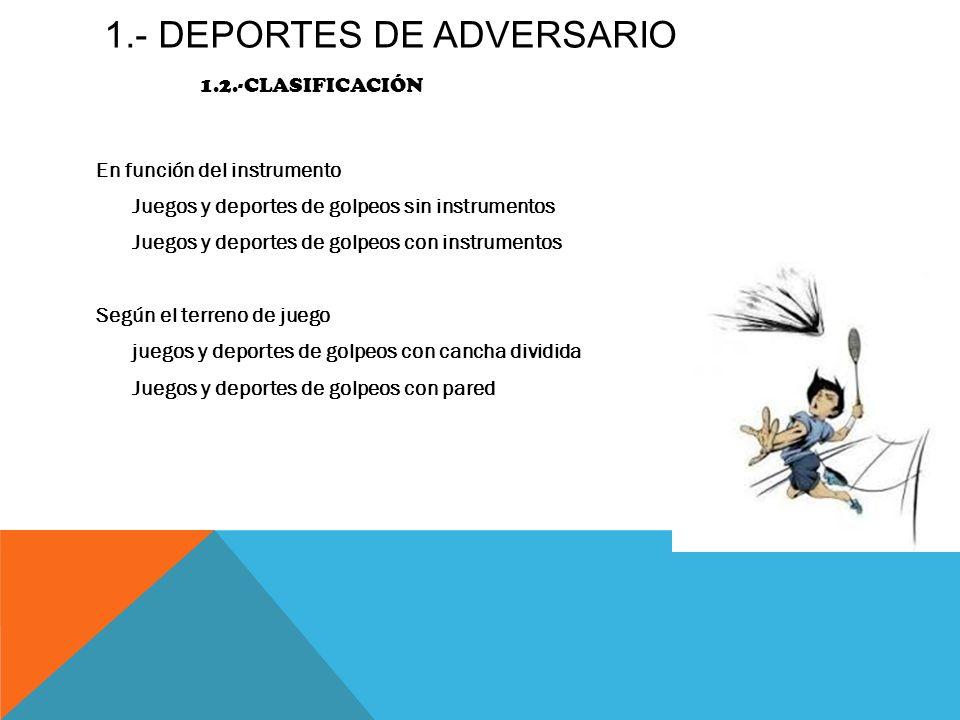 1.- DEPORTES DE Adversario 1.2.-clasificación