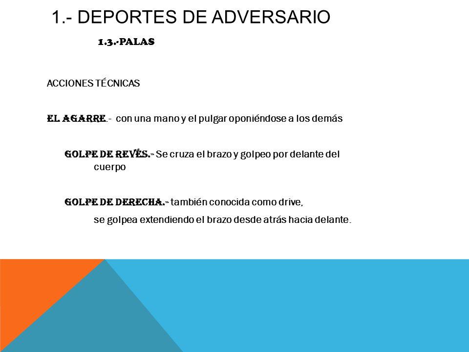 1.- DEPORTES DE ADVERSARIO 1.3.-PALAS