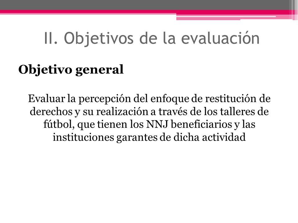 II. Objetivos de la evaluación