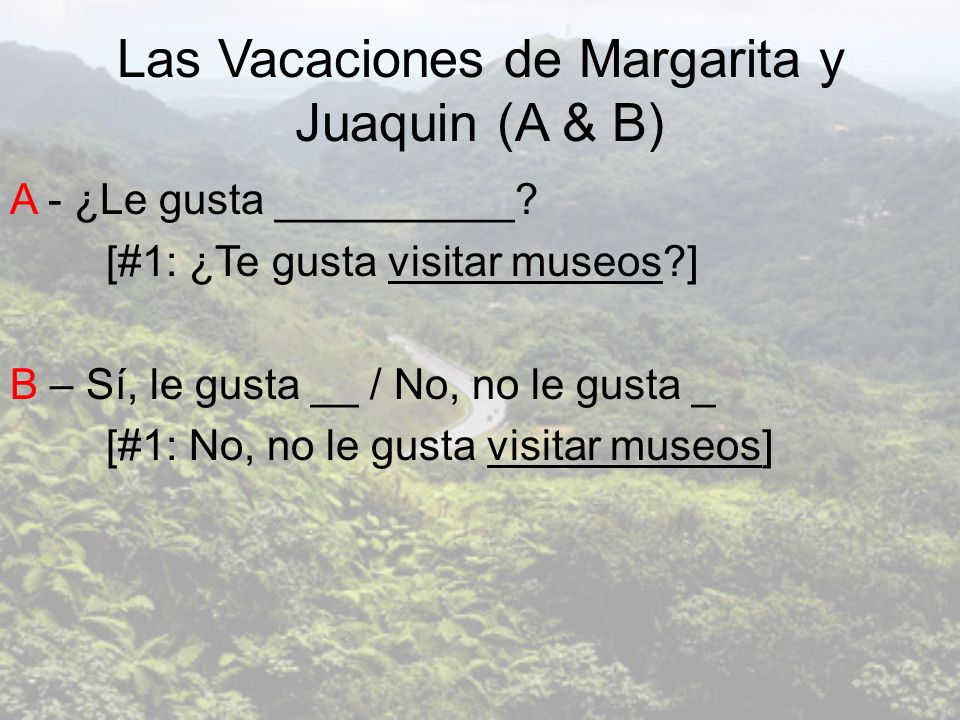 Las Vacaciones de Margarita y Juaquin (A & B)