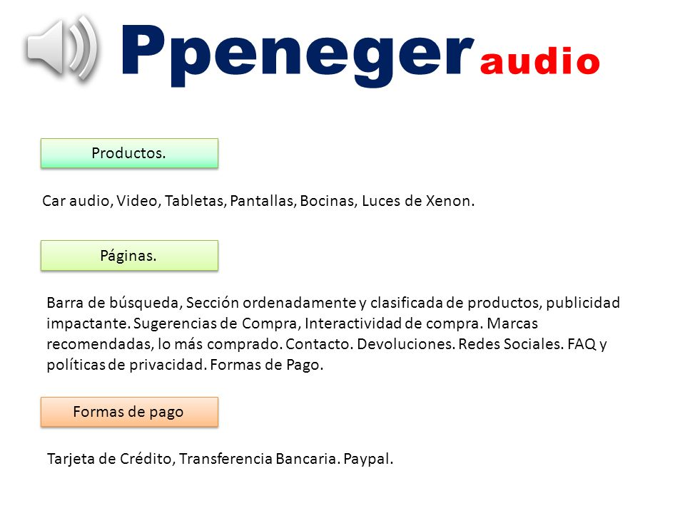 Ppeneger audio Productos.