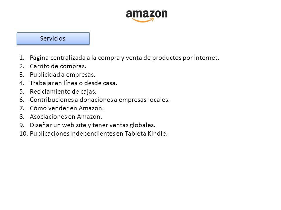 Servicios Página centralizada a la compra y venta de productos por internet. Carrito de compras. Publicidad a empresas.