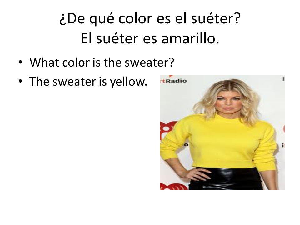 ¿De qué color es el suéter El suéter es amarillo.