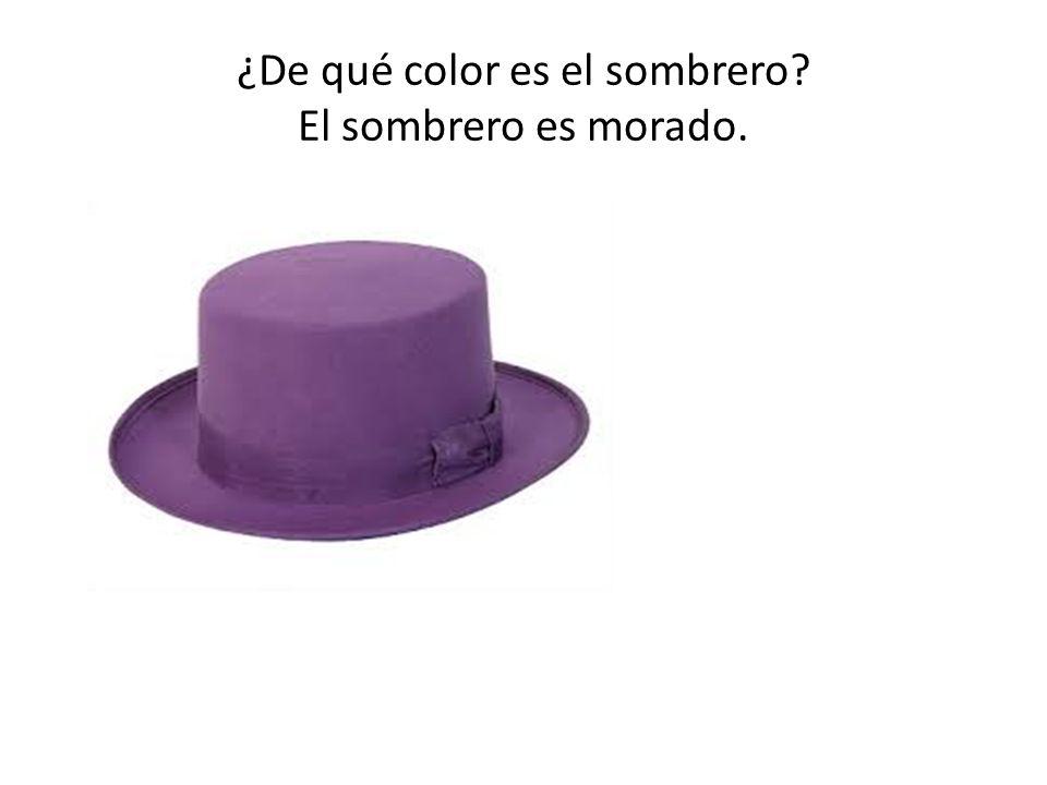 ¿De qué color es el sombrero El sombrero es morado.