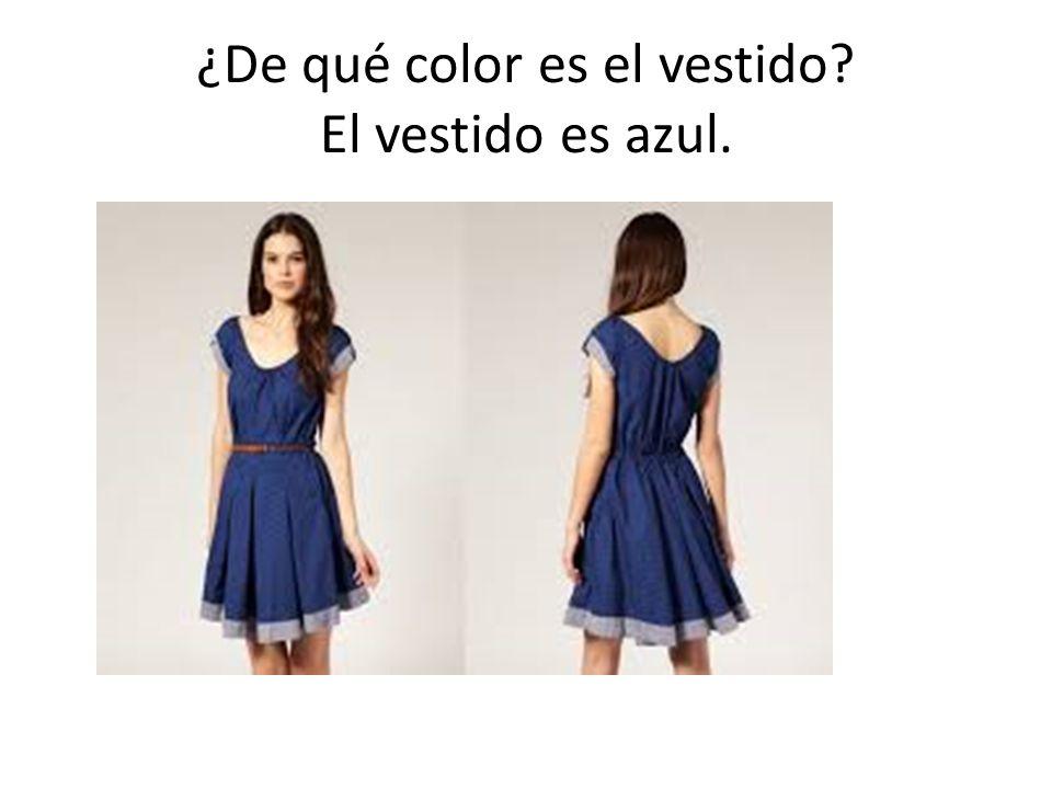 ¿De qué color es el vestido El vestido es azul.