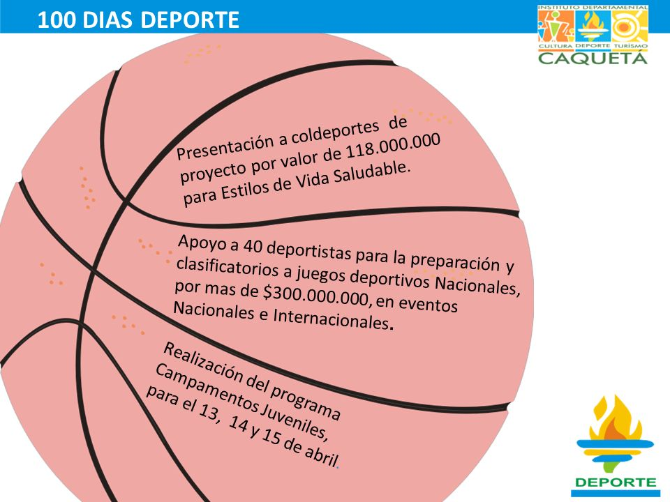 100 DIAS DEPORTE Presentación a coldeportes de proyecto por valor de 118.000.000 para Estilos de Vida Saludable.