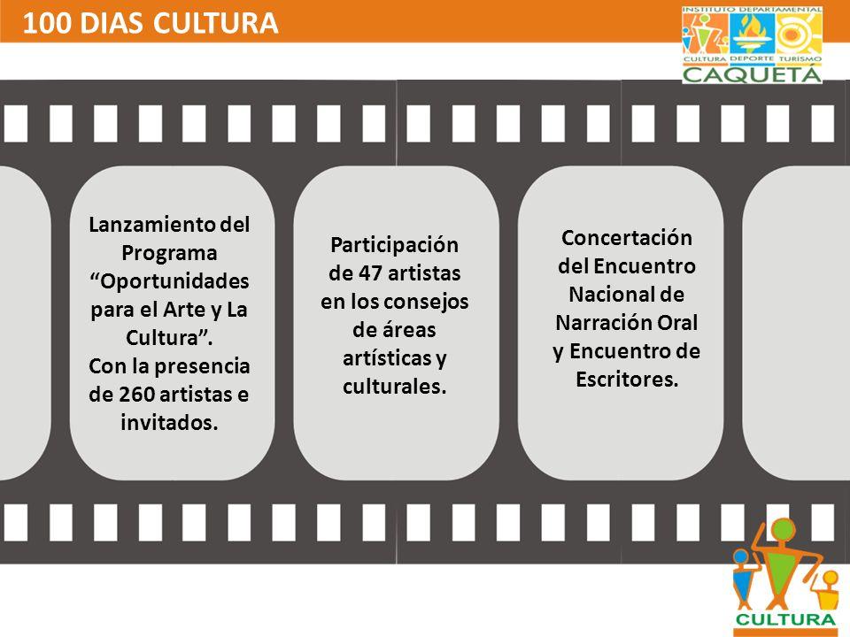 100 DIAS CULTURALanzamiento del Programa Oportunidades para el Arte y La Cultura . Con la presencia de 260 artistas e invitados.