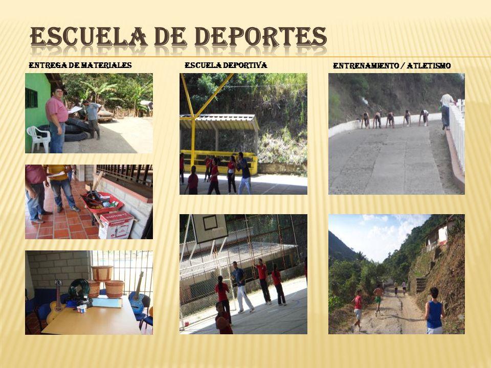 ESCUELA DE DEPORTES ENTREGA DE MATERIALES ESCUELA DEPORTIVA