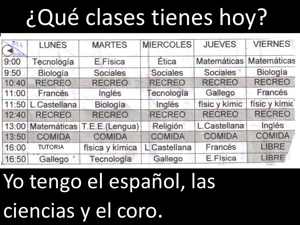 ¿Qué clases tienes hoy Yo tengo el español, las ciencias y el coro.