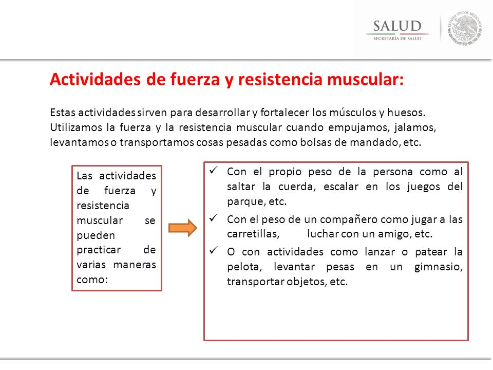 Actividades de fuerza y resistencia muscular: