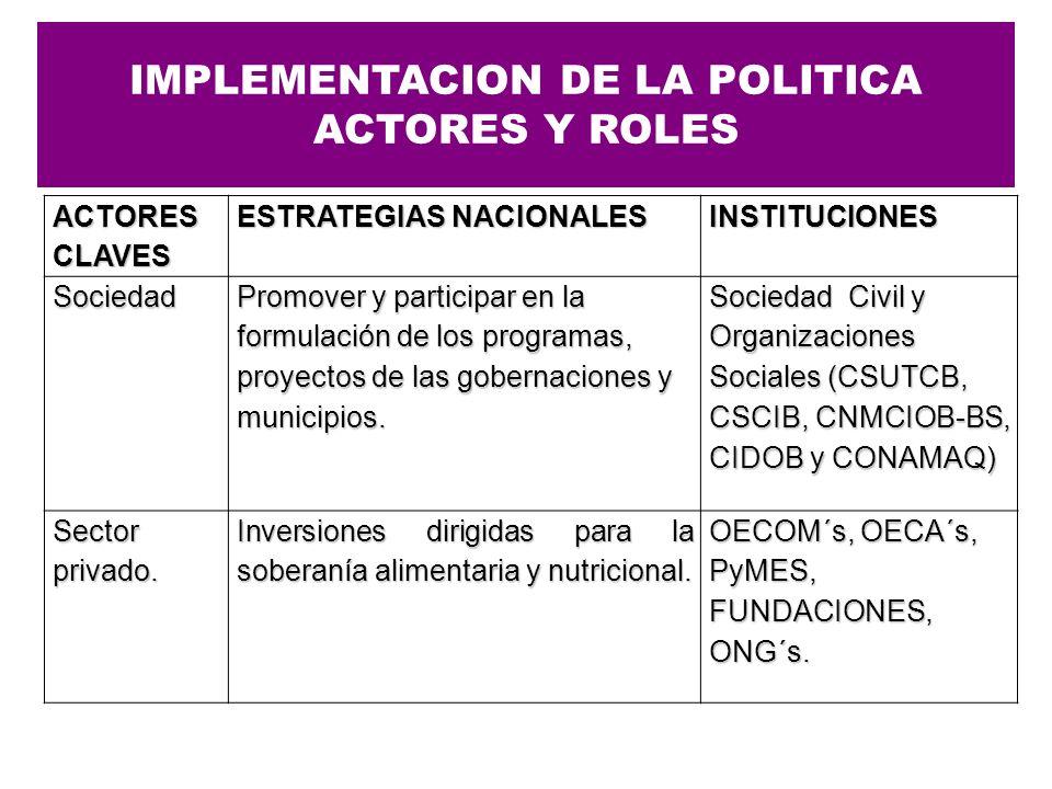 IMPLEMENTACION DE LA POLITICA