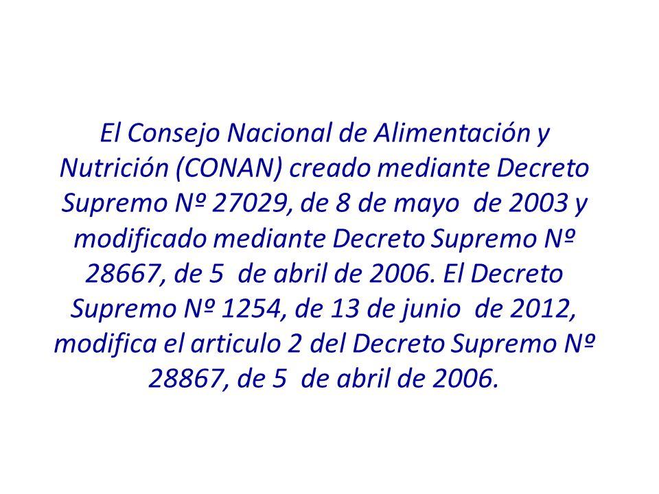 El Consejo Nacional de Alimentación y Nutrición (CONAN) creado mediante Decreto Supremo Nº 27029, de 8 de mayo de 2003 y modificado mediante Decreto Supremo Nº 28667, de 5 de abril de 2006.