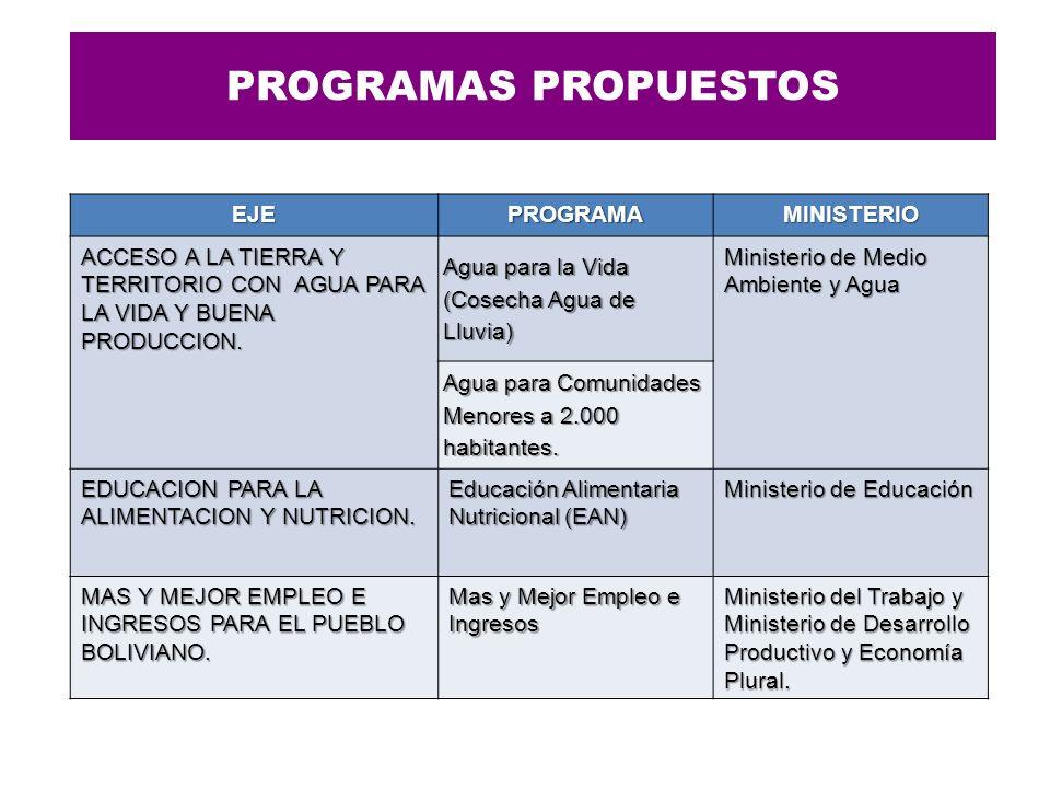 PROGRAMAS PROPUESTOS EJE PROGRAMA MINISTERIO