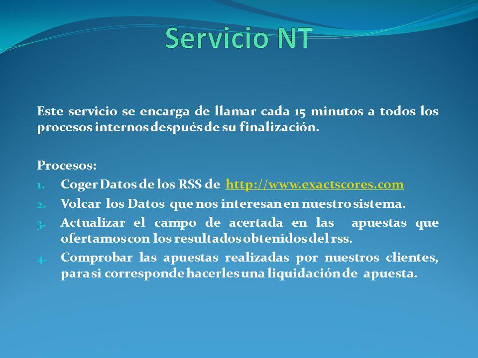 Servicio NT Este servicio se encarga de llamar cada 15 minutos a todos los procesos internos después de su finalización.