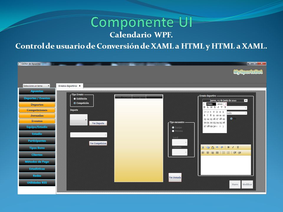 Control de usuario de Conversión de XAML a HTML y HTML a XAML.