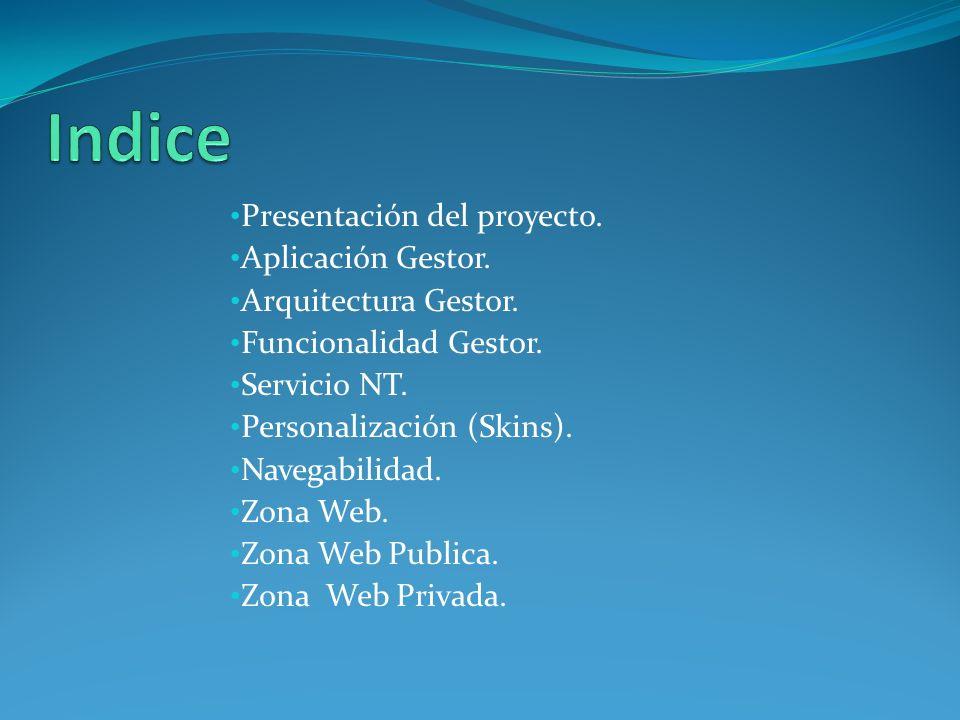 Indice Presentación del proyecto. Aplicación Gestor.