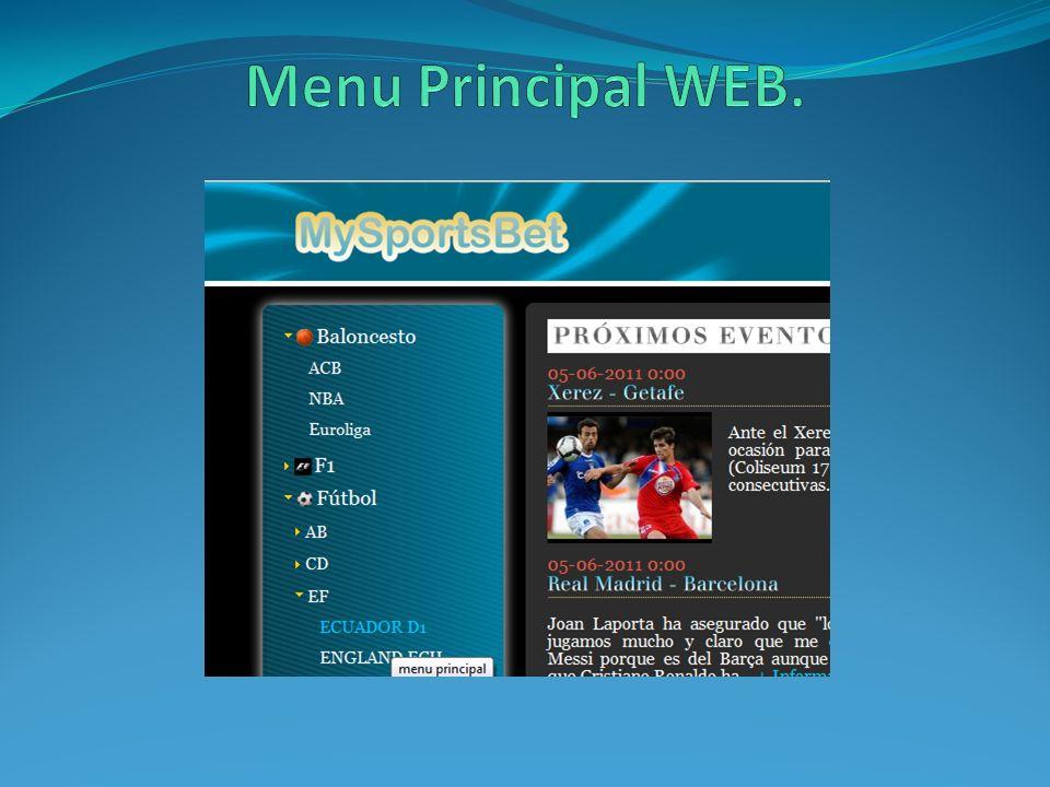 Menu Principal WEB.