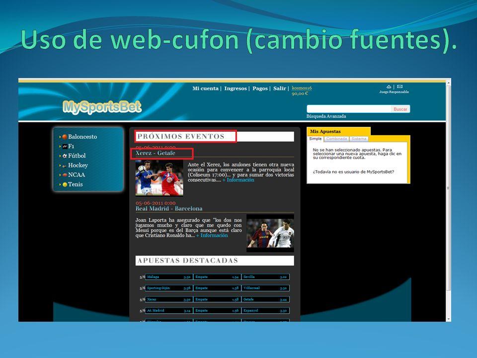 Uso de web-cufon (cambio fuentes).