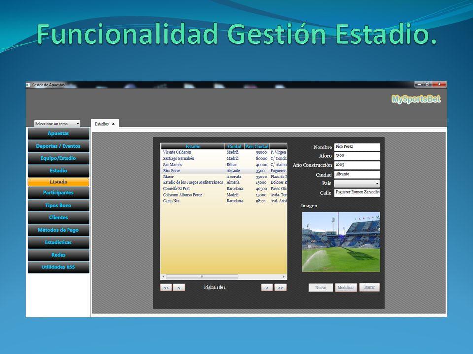 Funcionalidad Gestión Estadio.