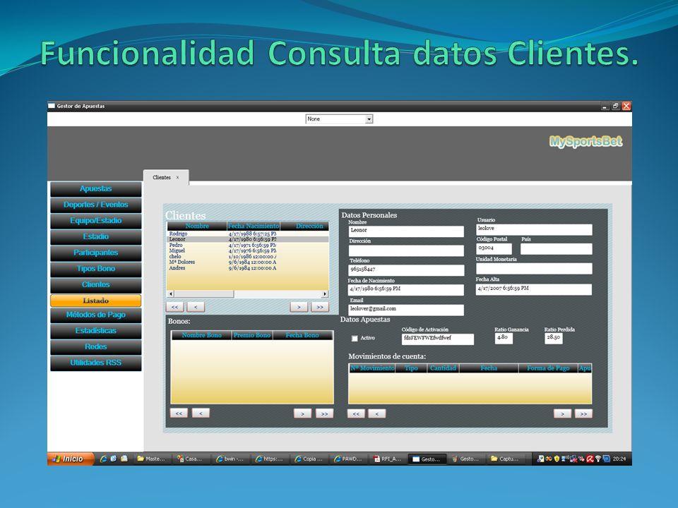 Funcionalidad Consulta datos Clientes.