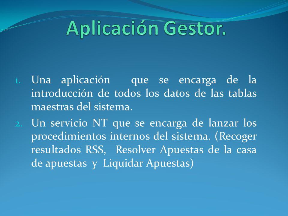 Aplicación Gestor. Una aplicación que se encarga de la introducción de todos los datos de las tablas maestras del sistema.