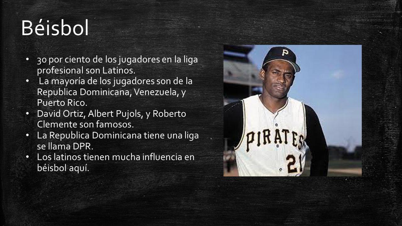 Béisbol 30 por ciento de los jugadores en la liga profesional son Latinos.