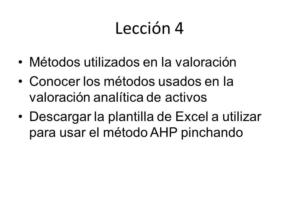 Lección 4 Métodos utilizados en la valoración