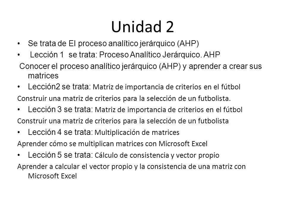 Unidad 2 Se trata de El proceso analítico jerárquico (AHP)