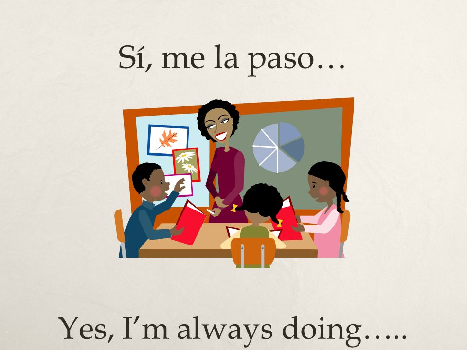 Sí, me la paso… Yes, I'm always doing…..