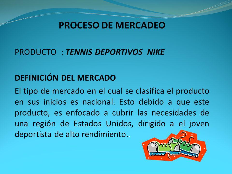 PROCESO DE MERCADEO PRODUCTO : TENNIS DEPORTIVOS NIKE