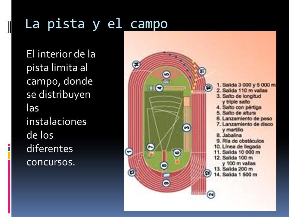 La pista y el campo El interior de la pista limita al campo, donde se distribuyen las instalaciones de los diferentes concursos.