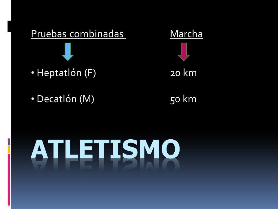 Pruebas combinadas Marcha Heptatlón (F) 20 km Decatlón (M) 50 km