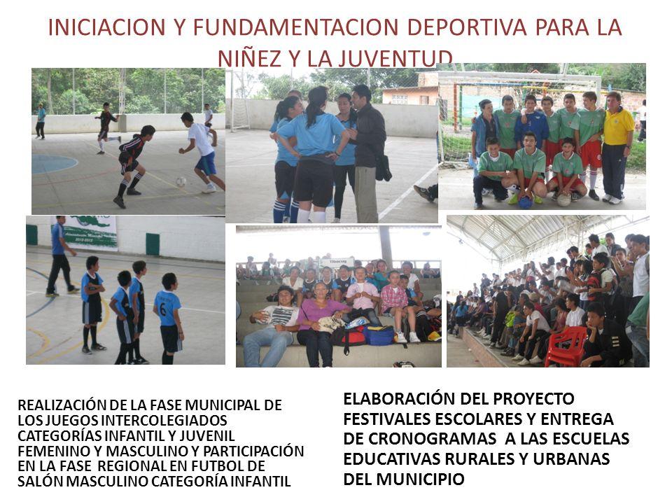INICIACION Y FUNDAMENTACION DEPORTIVA PARA LA NIÑEZ Y LA JUVENTUD