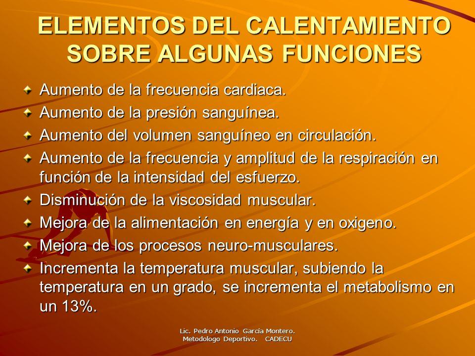 ELEMENTOS DEL CALENTAMIENTO SOBRE ALGUNAS FUNCIONES