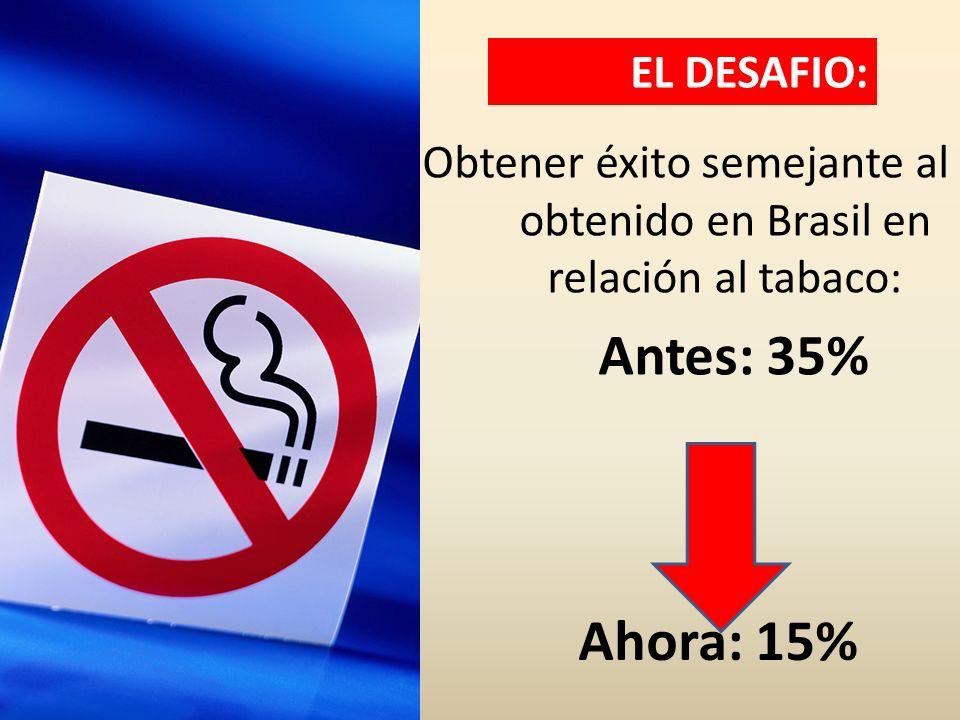 Obtener éxito semejante al obtenido en Brasil en relación al tabaco: