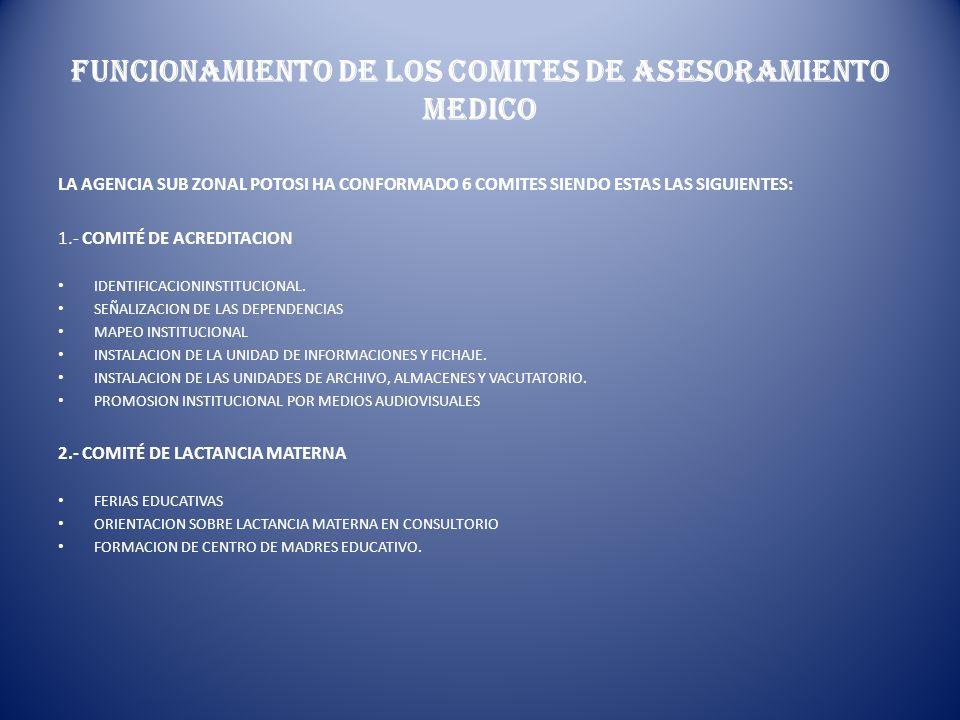 FUNCIONAMIENTO DE LOS COMITES DE ASESORAMIENTO MEDICO
