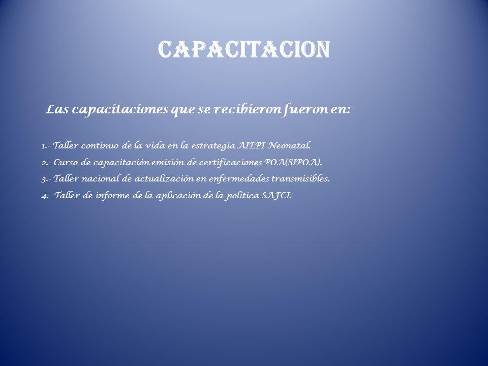 CAPACITACION Las capacitaciones que se recibieron fueron en: