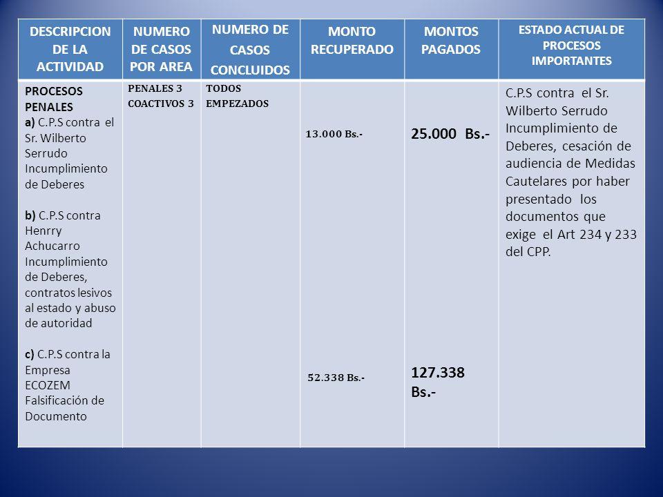 25.000 Bs.- 127.338 Bs.- DESCRIPCION DE LA ACTIVIDAD