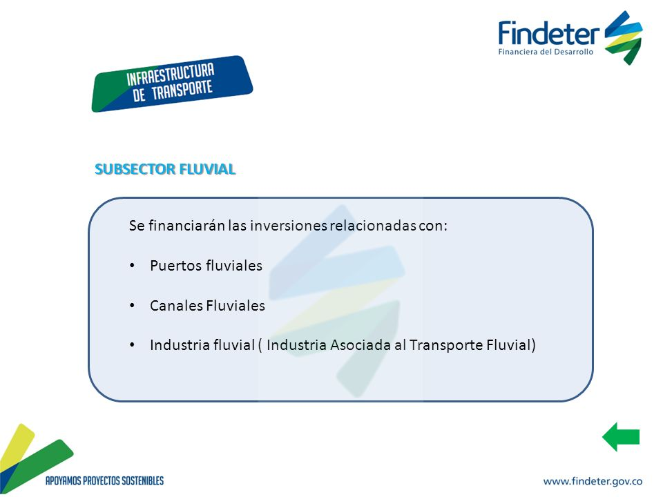 SUBSECTOR FLUVIAL Se financiarán las inversiones relacionadas con: Puertos fluviales. Canales Fluviales.