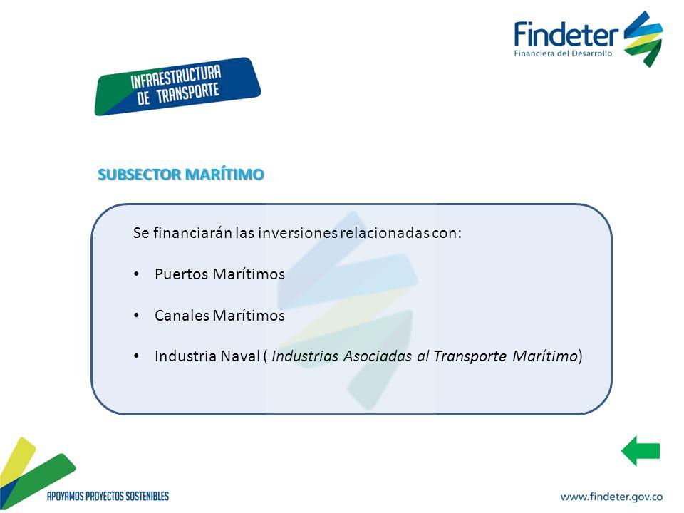SUBSECTOR MARÍTIMO Se financiarán las inversiones relacionadas con: Puertos Marítimos. Canales Marítimos.