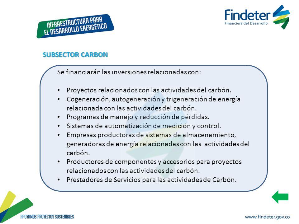 SUBSECTOR CARBON Se financiarán las inversiones relacionadas con: Proyectos relacionados con las actividades del carbón.