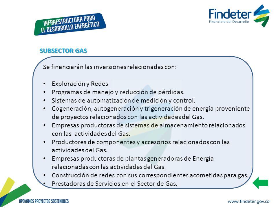 SUBSECTOR GAS Se financiarán las inversiones relacionadas con: Exploración y Redes. Programas de manejo y reducción de pérdidas.