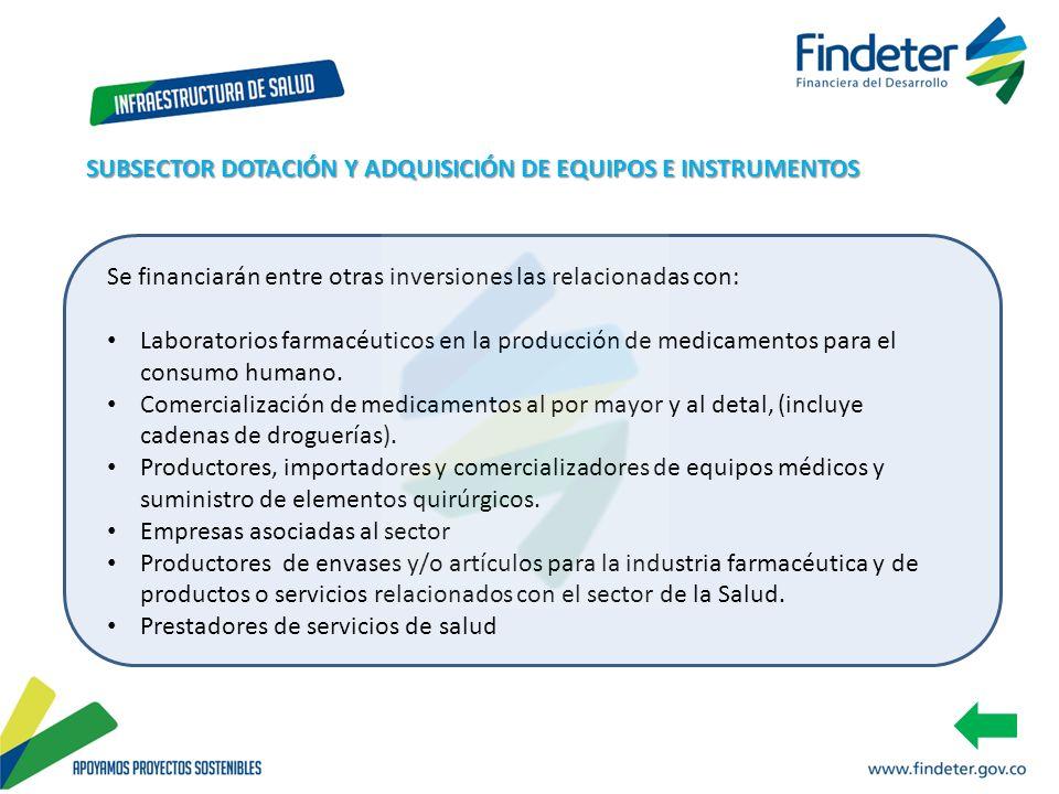 SUBSECTOR DOTACIÓN Y ADQUISICIÓN DE EQUIPOS E INSTRUMENTOS
